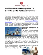 reliable firm offering door to door cargo