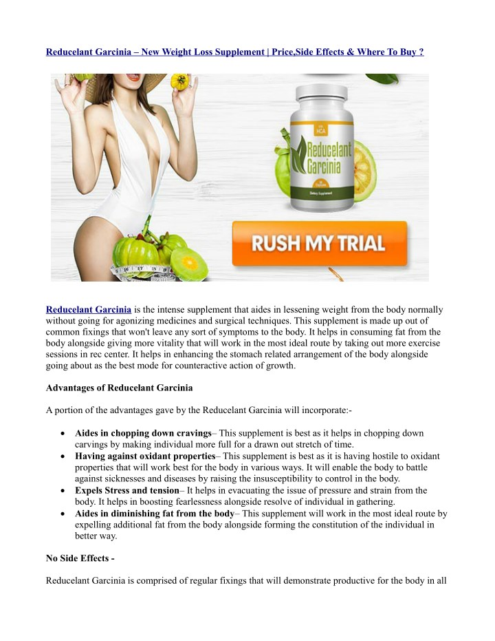 reducelant garcinia new weight loss supplement n.