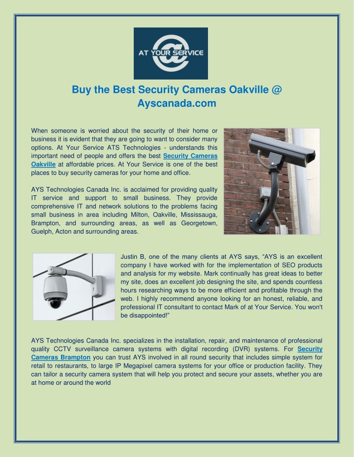 buy the best security cameras oakville n.