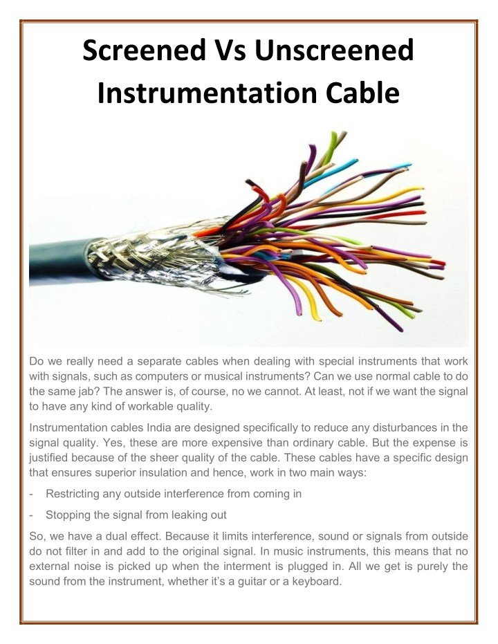 screened vs unscreened instrumentation cable n.