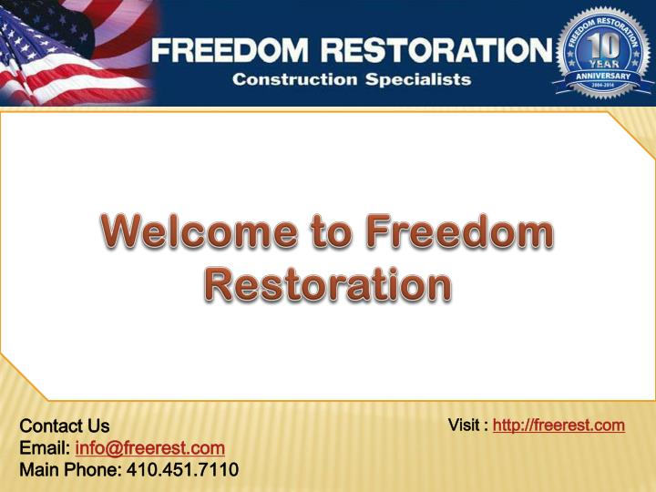 welcome to freedom restoration n.