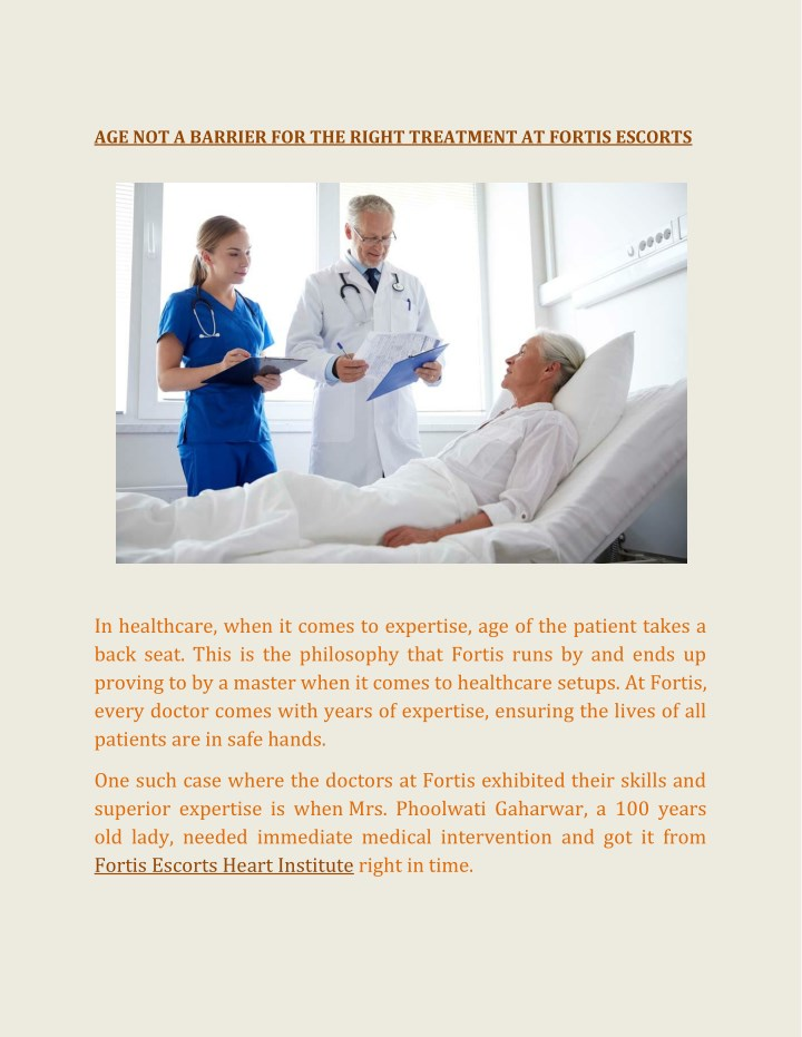 age not a barrier for the right treatment n.