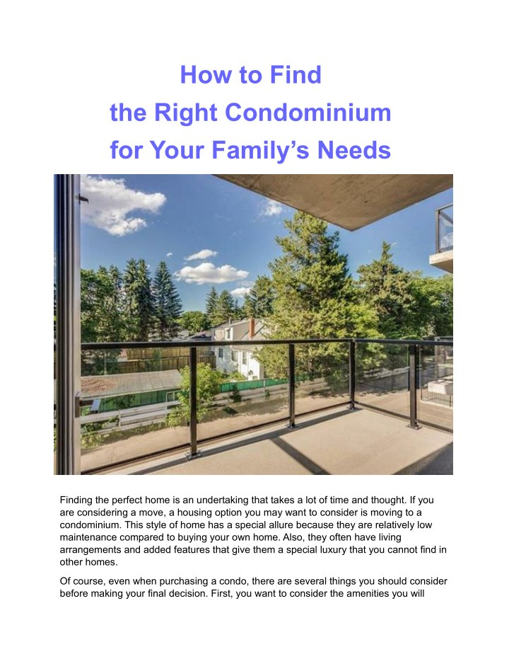 how to find the right condominium for your family n.