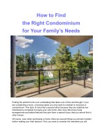 how to find the right condominium for your family