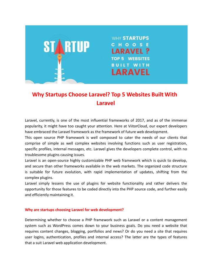 why startups choose laravel top 5 websites built n.