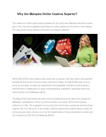 why are malaysia online casinos superior