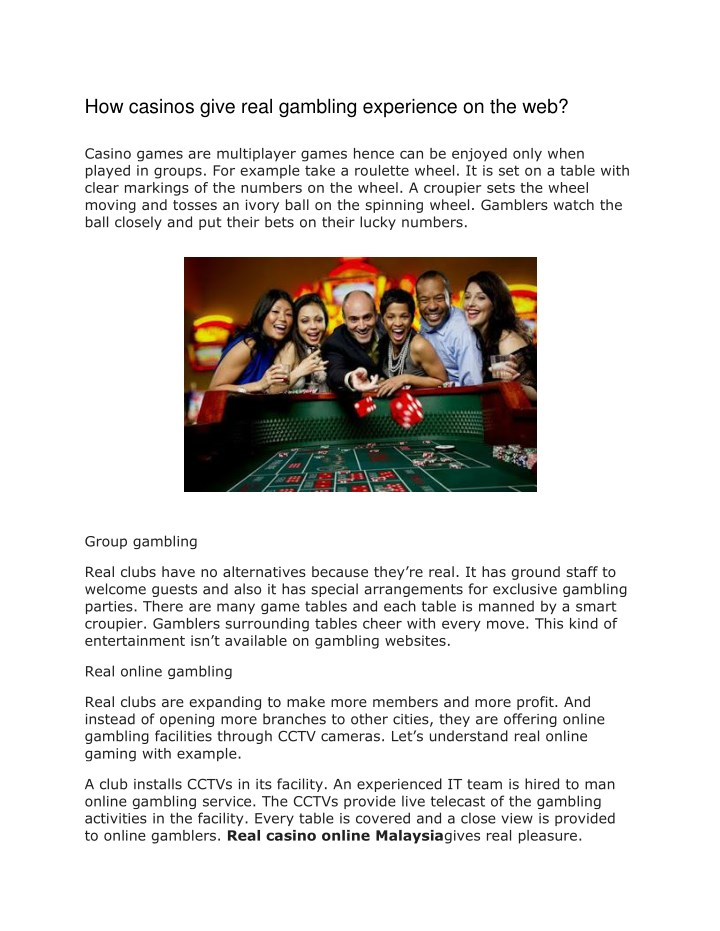 how casinos give real gambling experience n.