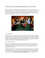how casinos give real gambling experience