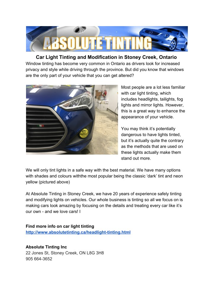 car light tinting and modification in stoney n.