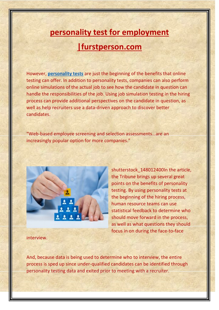 personality test for employment n.
