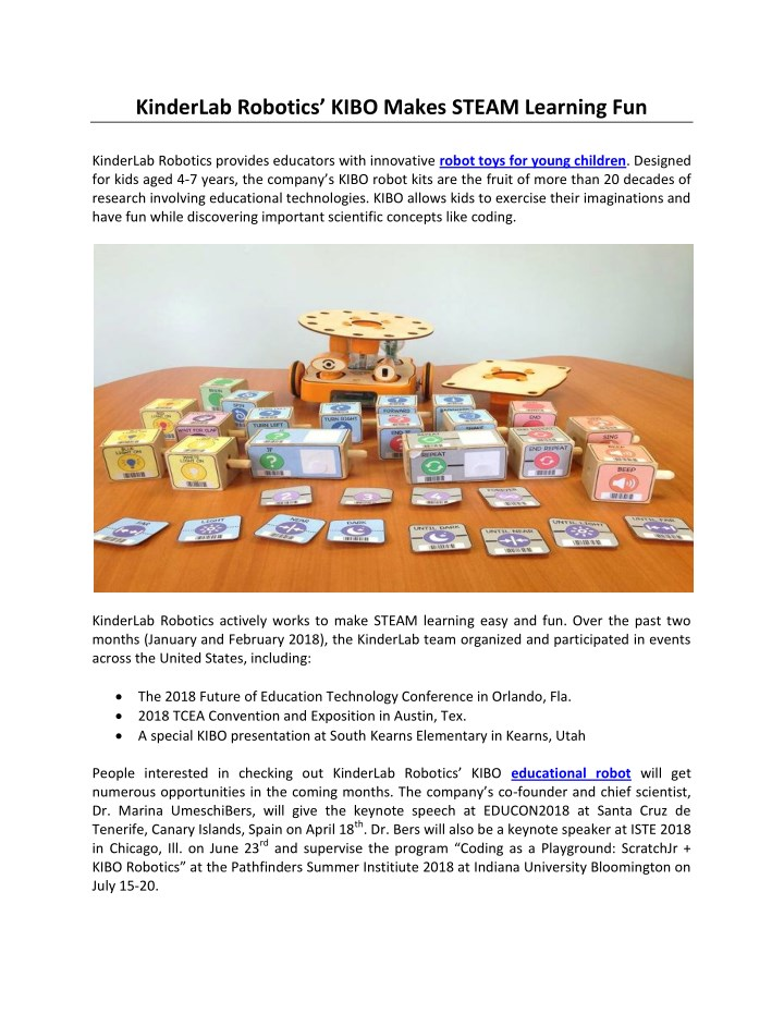 kinderlab robotics kibo makes steam learning n.