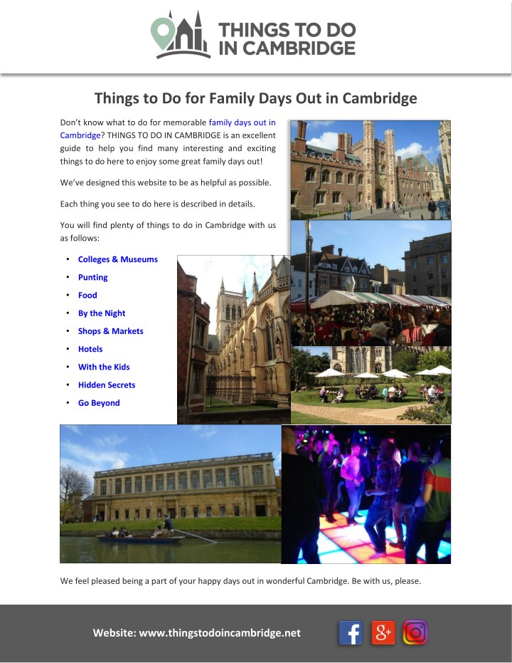 things to do for family days out in cambridge n.
