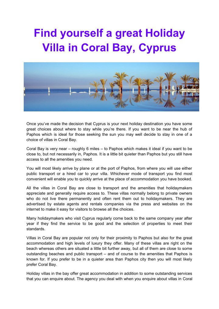 find yourself a great holiday villa in coral n.