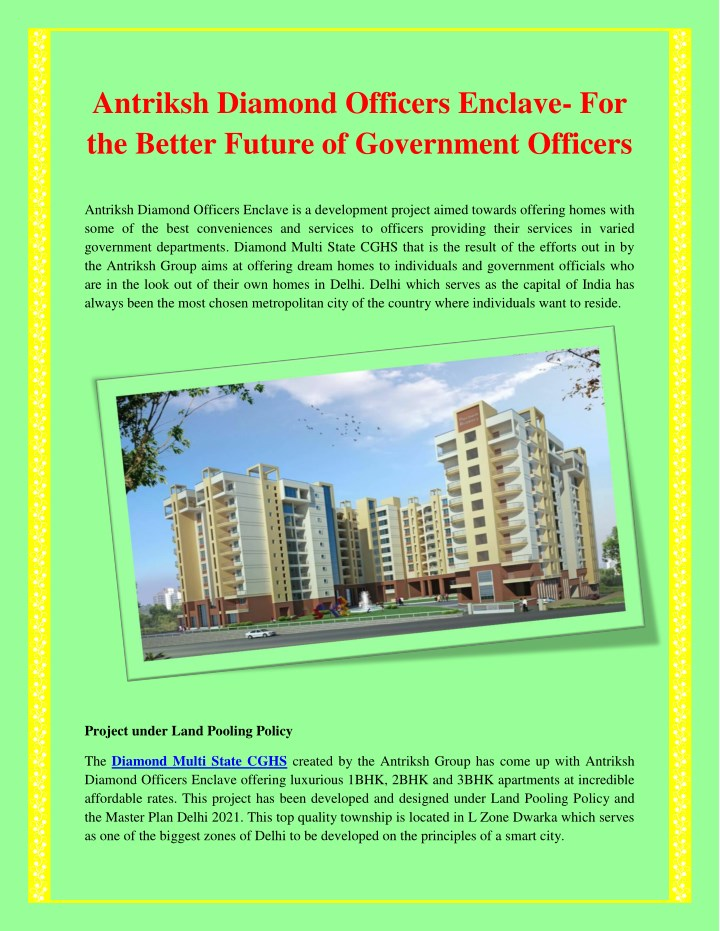 antriksh diamond officers enclave for the better n.