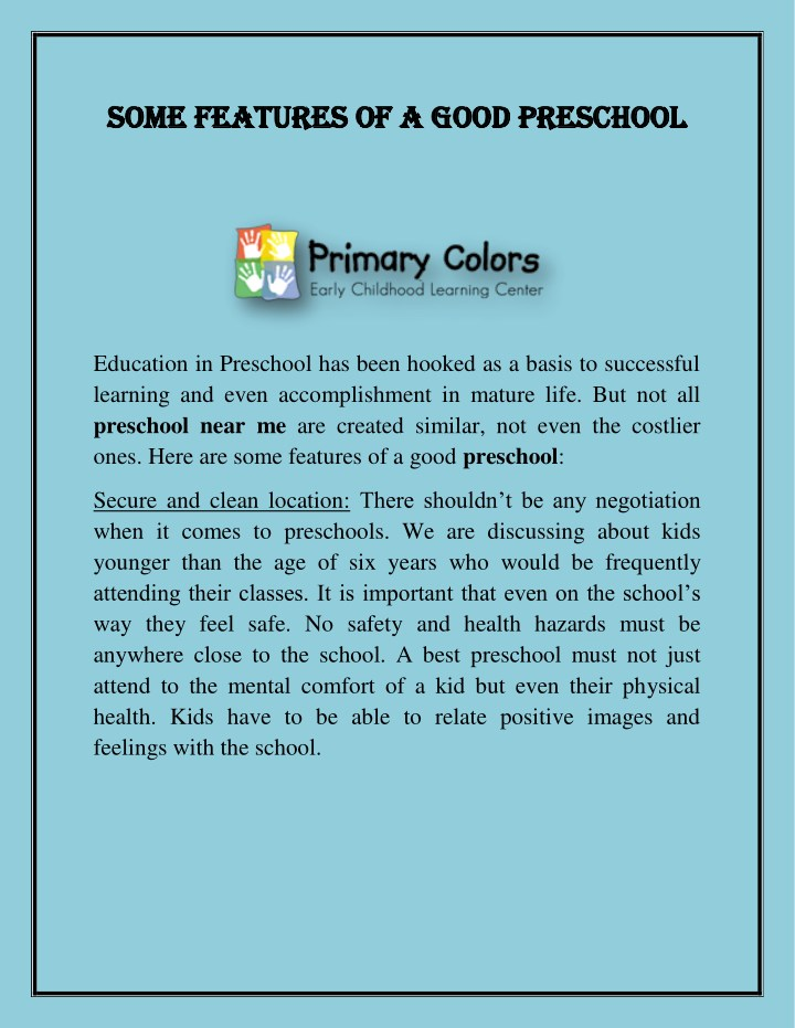 some features of a good preschool some features n.