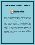 some features of a good preschool some features