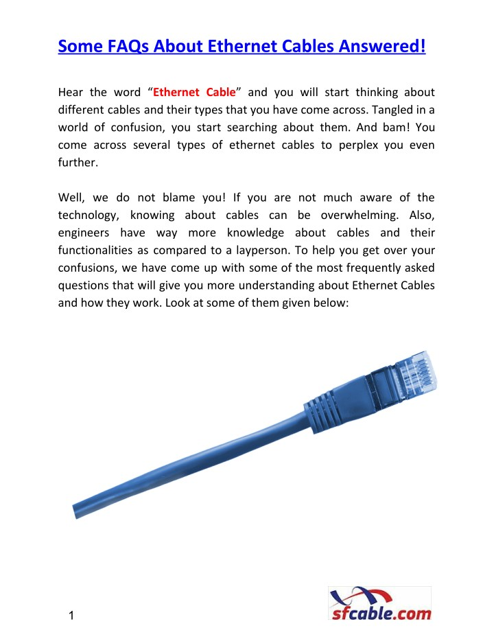 some faqs about ethernet cables answered n.