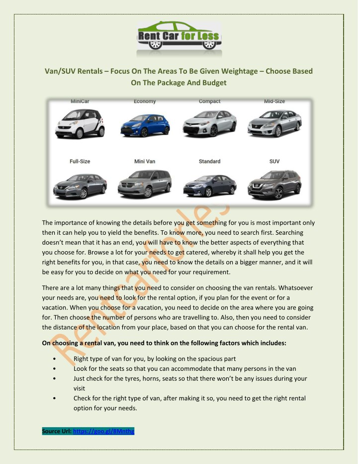 van suv rentals focus on the areas to be given n.