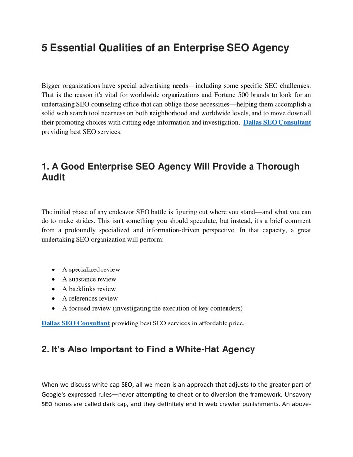 5 essential qualities of an enterprise seo agency n.