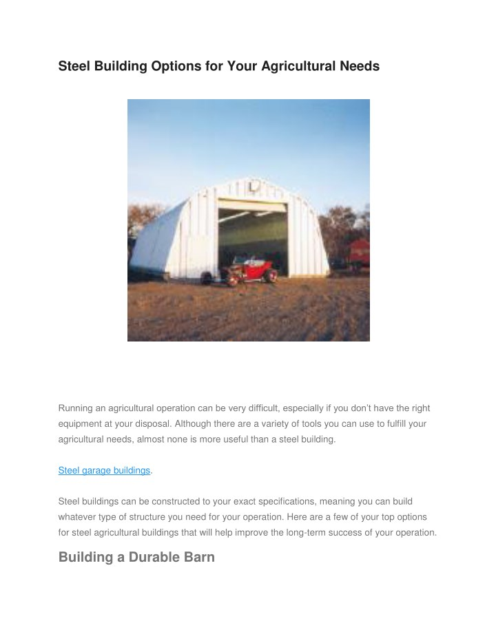 steel building options for your agricultural needs n.