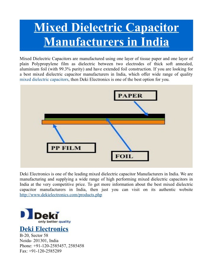 mixed dielectric capacitor manufacturers in india n.
