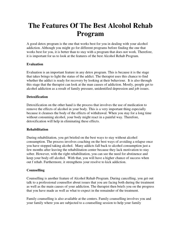 the features of the best alcohol rehab program n.