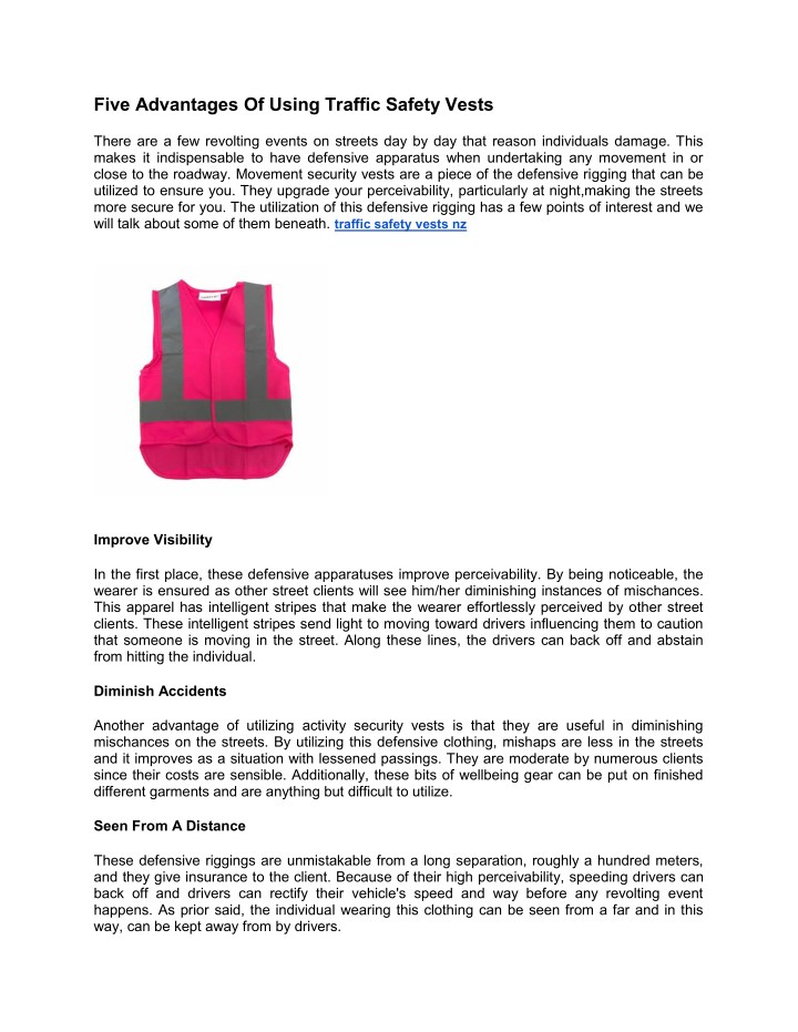 five advantages of using traffic safety vests n.