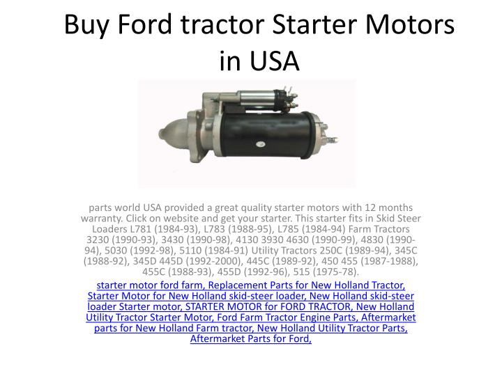 buy ford tractor starter motors in usa n.