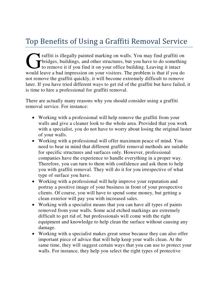 top benefits of using a graffiti removal service g n.