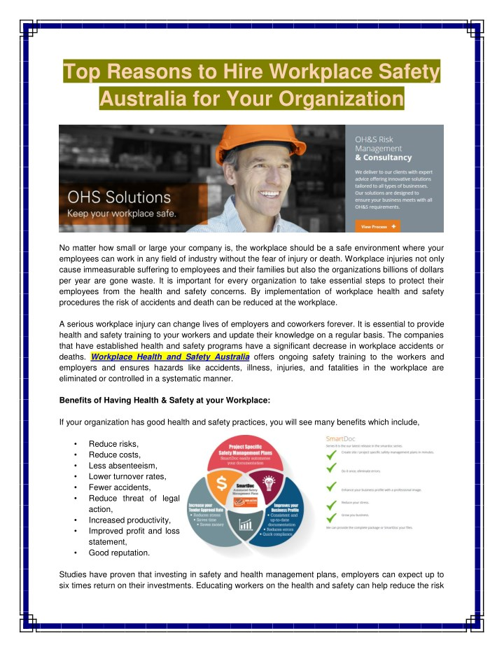 top reasons to hire workplace safety australia n.