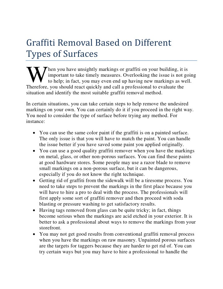 graffiti removal based on different types n.