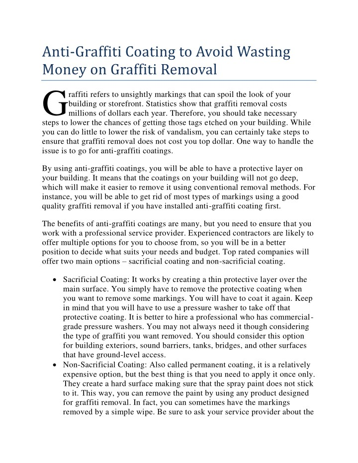 anti graffiti coating to avoid wasting money n.