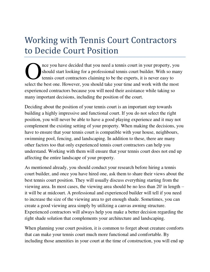 working with tennis court contractors to decide n.
