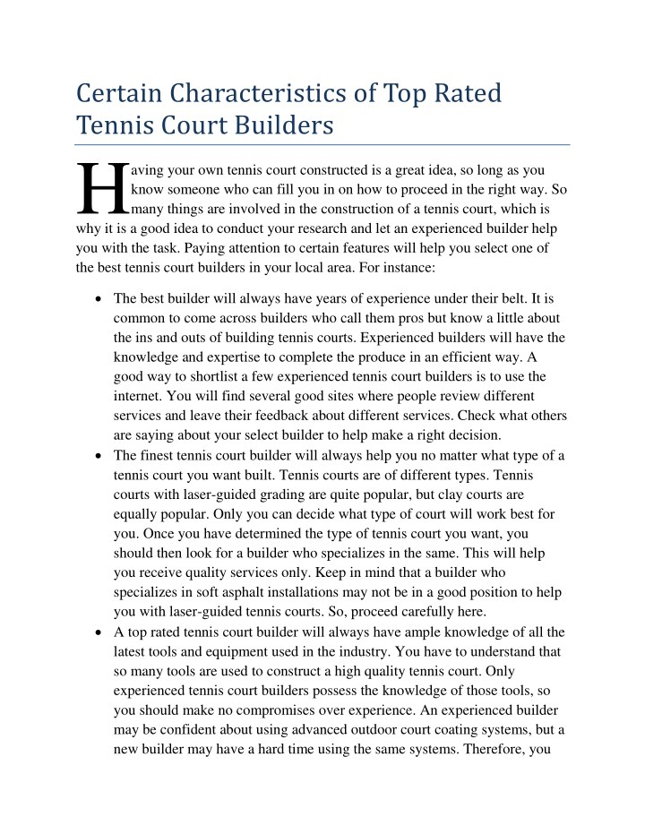 certain characteristics of top rated tennis court n.