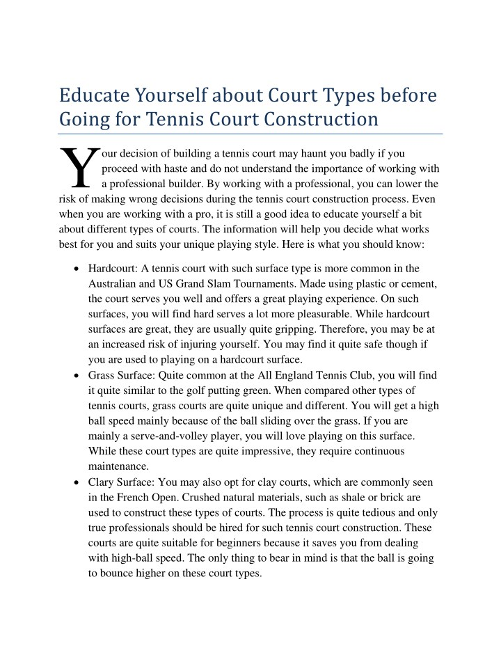 educate yourself about court types before going n.