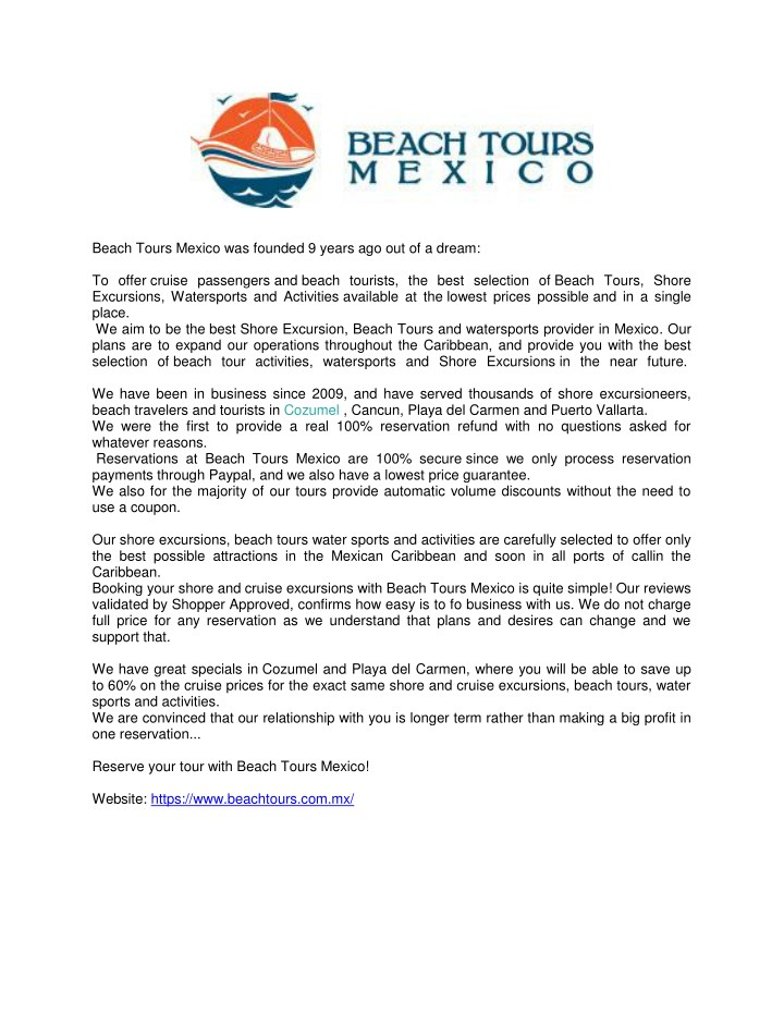 beach tours mexico was founded 9 years n.