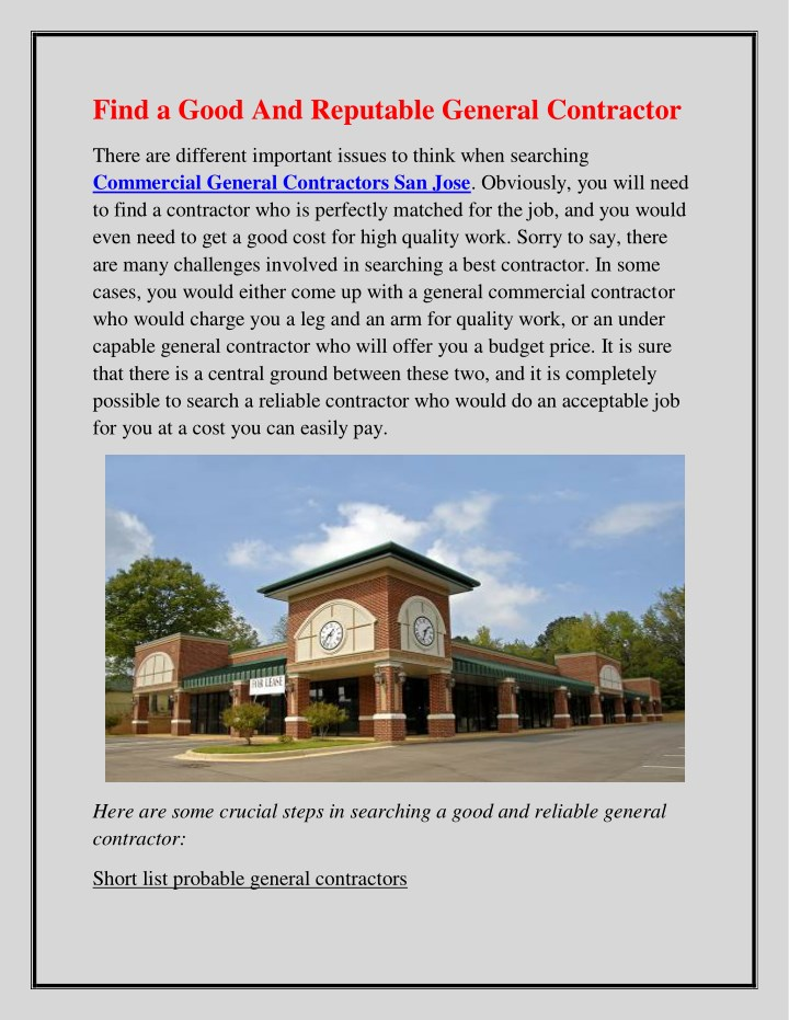 find a good and reputable general contractor n.