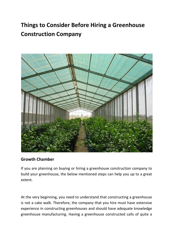 things to consider before hiring a greenhouse n.
