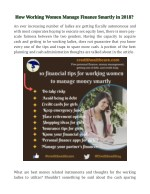 how working women manage finance smartly in 2018
