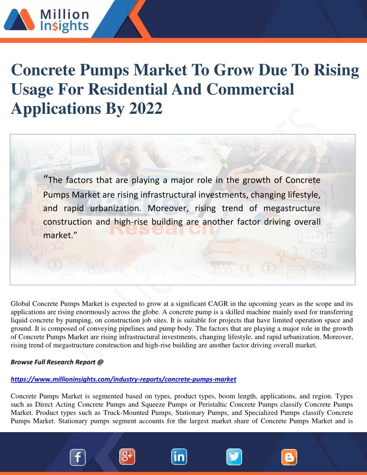 concrete pumps market to grow due to rising usage n.