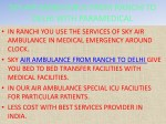 sky air ambulance from ranchi to delhi with