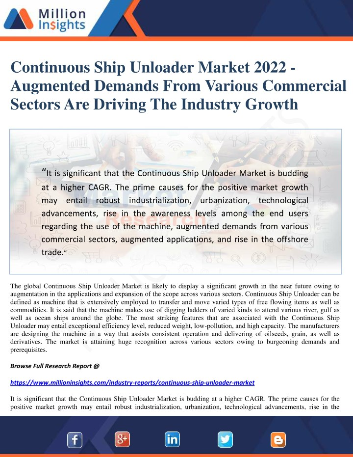 continuous ship unloader market 2022 augmented n.