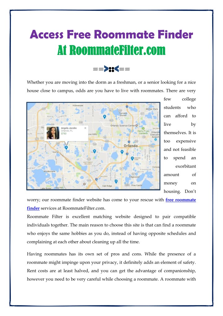 access free roommate finder at at roommatefilter n.