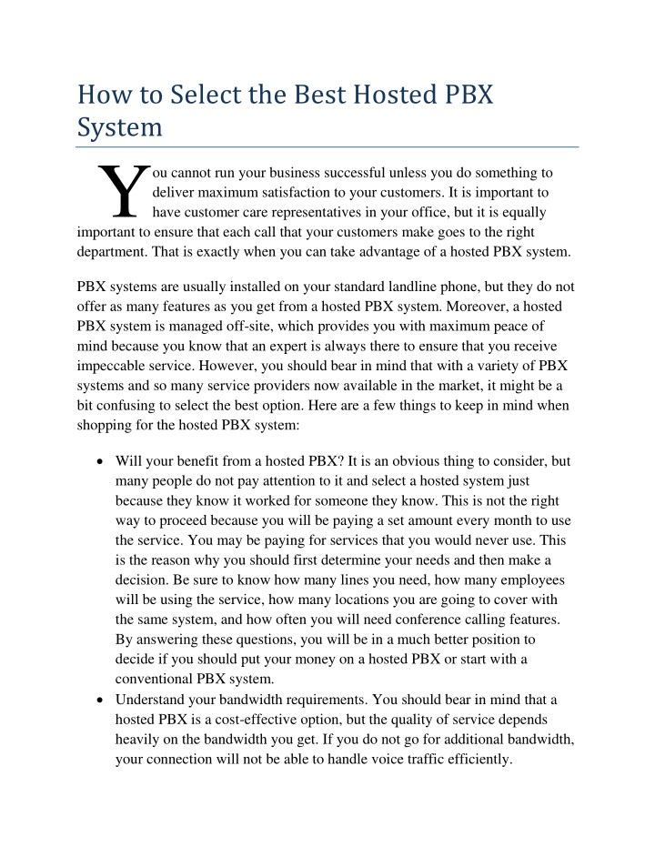 how to select the best hosted pbx system y n.