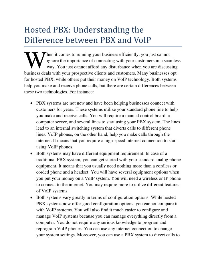 hosted pbx understanding the difference between n.