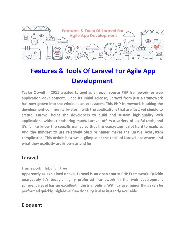 features tools of laravel for agile n.