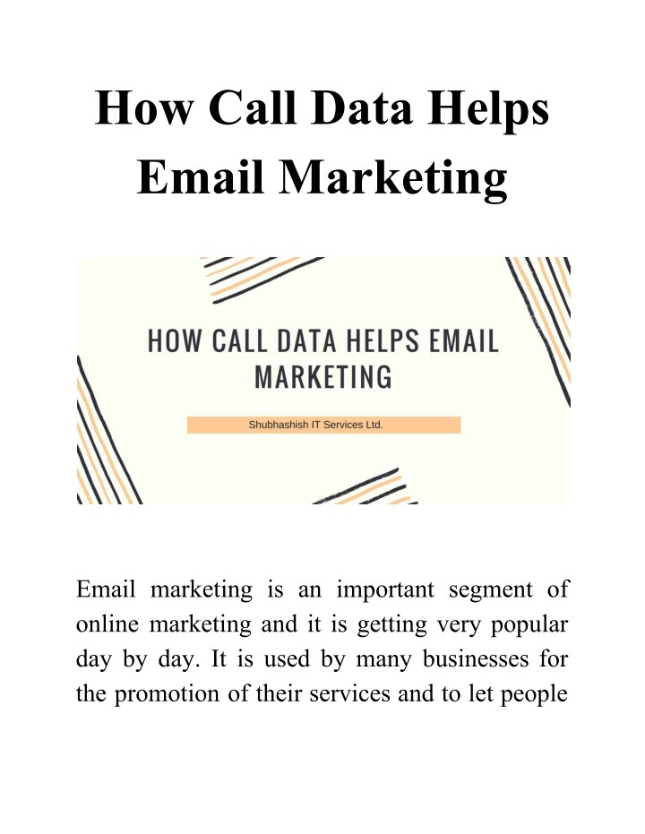 how call data helps email marketing n.