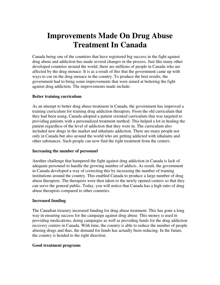 improvements made on drug abuse treatment n.