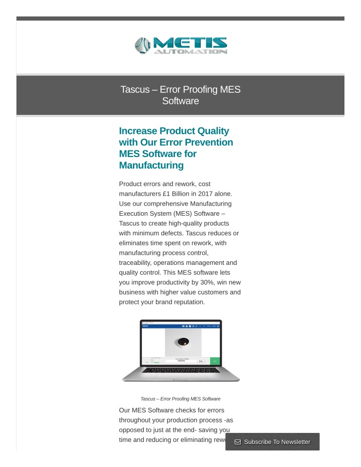tascus error proofing mes software n.