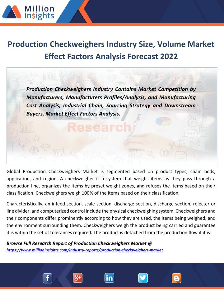 production checkweighers industry size volume n.